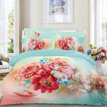 Chinese Style Floral Bedding Set Queen Size,Fishing Boat Peach Blossom and Peony Bedroom Sets Duvet Cover Bed Linen Pillowcase
