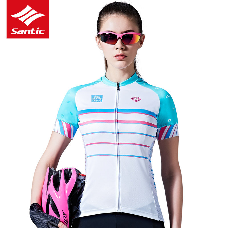 ФОТО Santic Cycling Jersey 2017 Women Summer Style Short Sleeve Breathable MTB Road Female Cycle Bicycle Bike Clothing Ropa Ciclismo