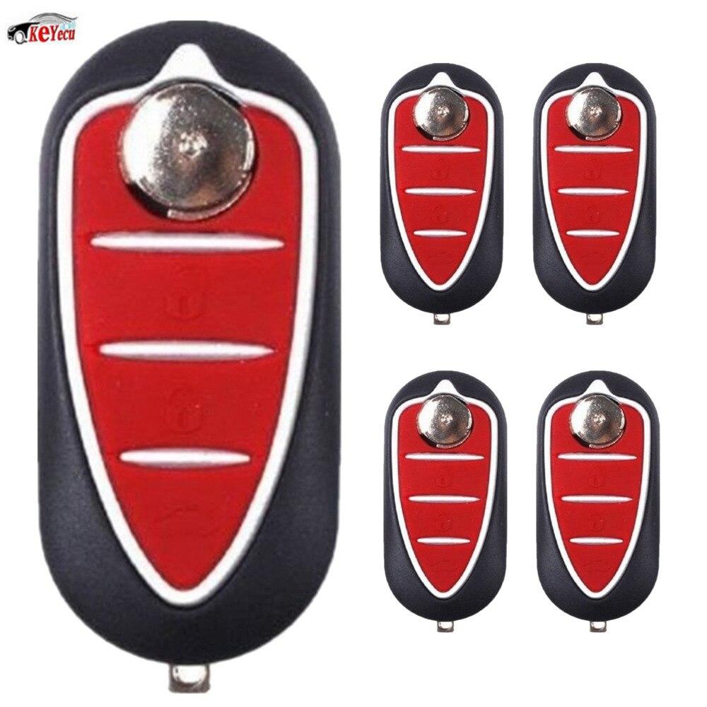 KEYECU 5 Pcs/lot 3 bouton Flip pliant Fob boîtier lame à distance voiture clé Shell pour Alfa Romeo Mito Giulietta GTO 159