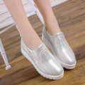 New 2017 Spring and autumn shoes women flats shoes creepers platform white black silver women loafers ladies shoes plus size 11