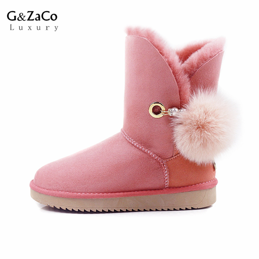 G&Zaco Luxury Winter Sheepskin Snow Boots Suede Genuine Leather Sheep Fur Mid Calf Fox Fur Ball Sweet Women Boots Female Shoes