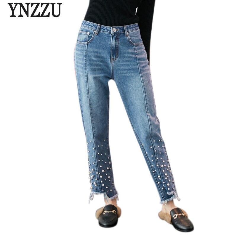 YNZZU Date De Mode 2018 Automne Perles Jeans Femme Coréenne Taille Haute Casual Pantalon Droit En Denim Pantalon pour Femmes YB215