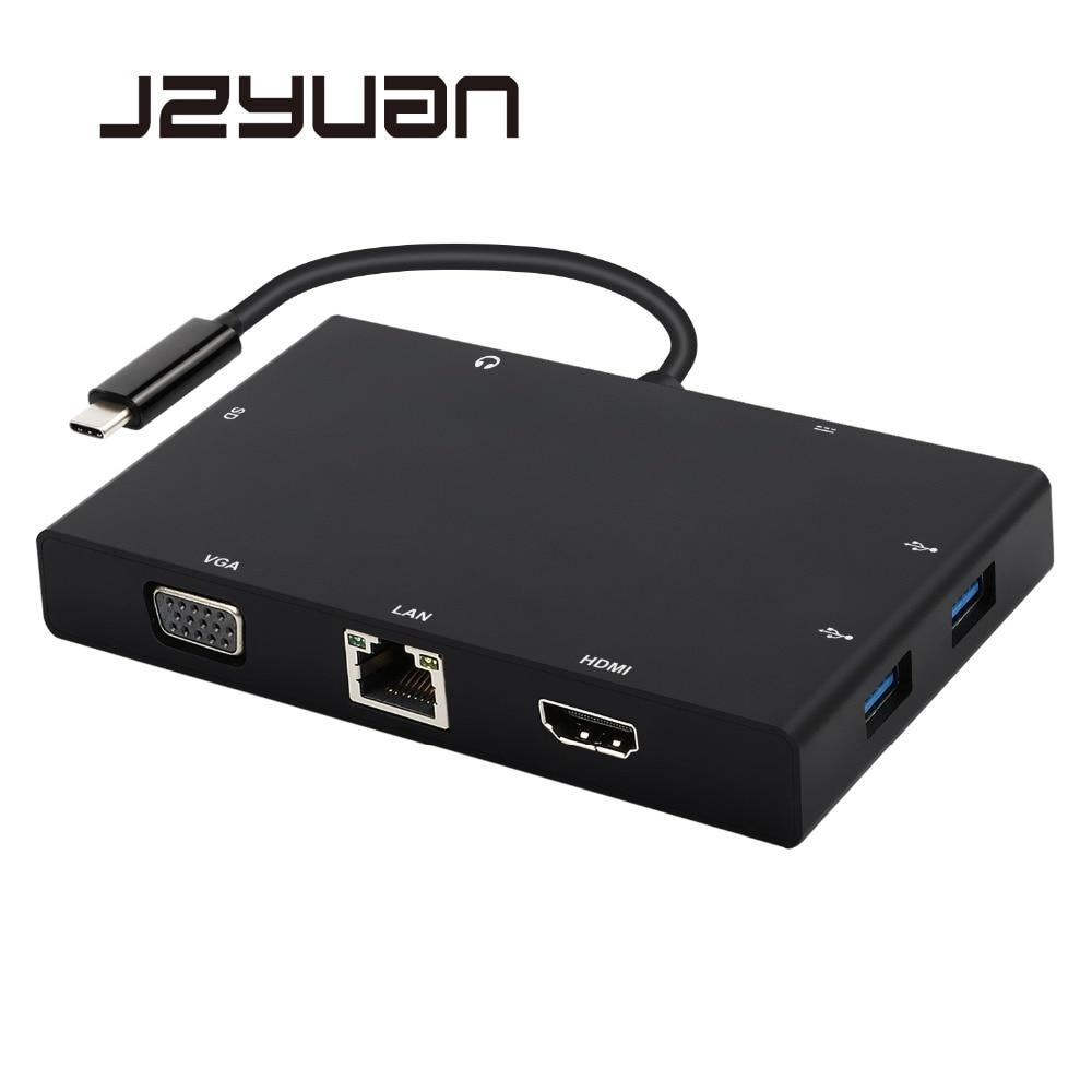 Station d'accueil pour ordinateur portable 8-en-1 USB C Thunderbolt 3 adaptateur pour Macbook USB C vers HDMI VGA PD RJ45 Ethernet Audio USB 3.0 Dongle