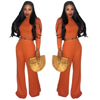 Winter 2 Piece Set Ribbed Sweater Jumpsuit Full Sleeve Crop Top Wide Leg Playsuit Women Turtleneck Long Pant Club Rompers
