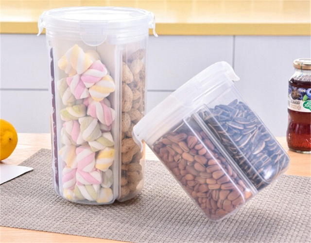Large Kitchen Food Storage Box Plastic Containers Creative Sealing Cans  With Airtight Cover For Coarse Cereals