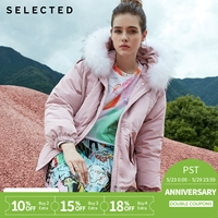 SELECTED new lady, eiderdown, dismountable raccoon feather coat jacket S|418412540