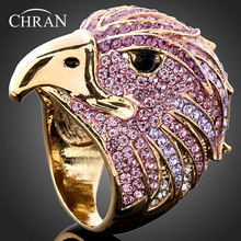 Chran Wholesale Gold Color Crystal Big Ladies Eagle Party Ring Fashion Women Punk Jewelry Accessories Free Shipping Gifts