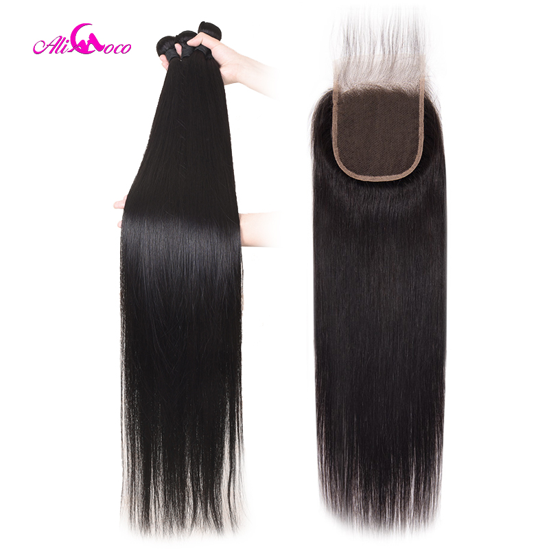Hair-Bundles Closure Remy-Hair Ali-Coco Straight 30inch-32 Brazilian With 30inch-32/34/36-38-40inch/Long