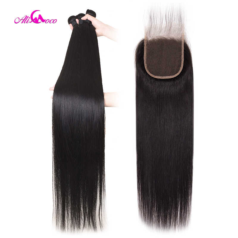 Brazilian Straight Hair Bundles With Closure 30inch 32 34 36 38 40 inch Long Human Hair Bundles With Closure Remy Hair Ali Coco