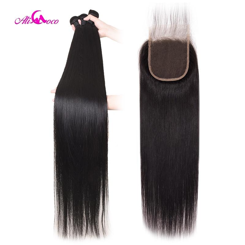 Feixes de Cabelo Retas brasileiros Com Fechamento 30 polegada 32 34 36 38 40 polegada Longo Cabelo Humano Pacotes Com Fecho cabelo Remy Ali de Coco