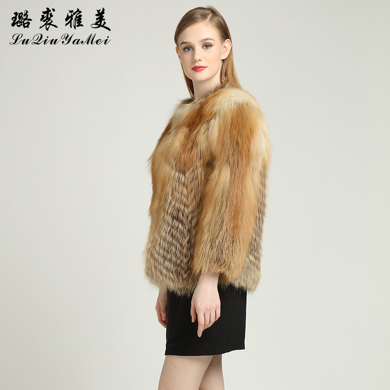 Red Fox Fur Coats Weibliche Naturfuchsfelljacken Short Style Can - Damenbekleidung - Foto 4