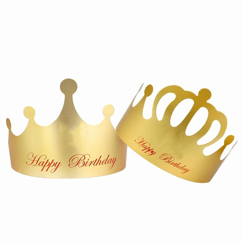 Gold Red Paper Birthday Crown Children Adults Birthday Party Hats Hair Accessories Baby Shower Party Headwear