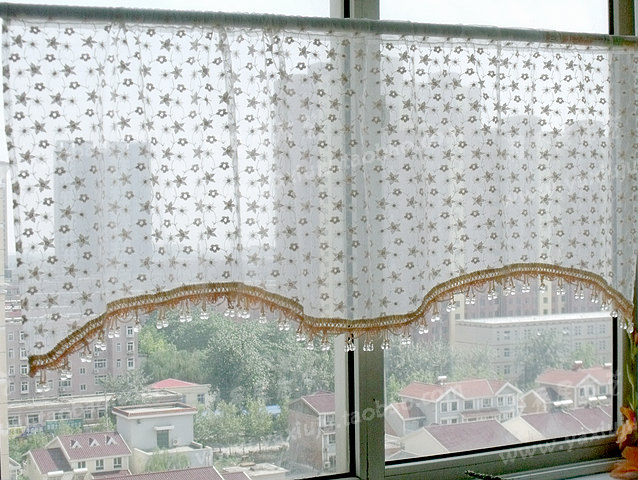 Free shipping Lace embroidery beads beautiful coffee short curtain kitchen curtains for living room bedroom yarn tulle 50*150CM