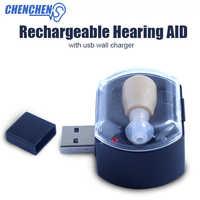 Geräuscharm Hörgerät Unsichtbare design Ton Stimme Verstärker Wiederaufladbare Einstellbare Hörgeräte Ohr Pflege Kit