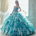 3 peças Querida Beading Vestidos Quinceanera com Saia Removível Dois em Um vestido de Babados de Organza Masquerade Vestidos de Baile Vestido 2016
