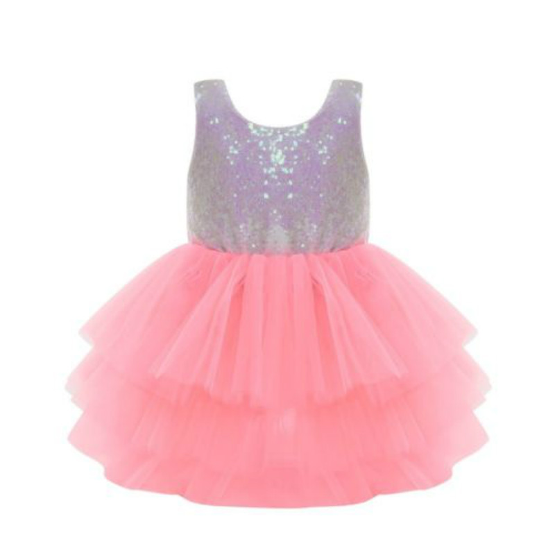 Kids Baby Flower Girls Bow Sequins Tulle Tutu Dress Princess Party Wedding Gown Dresses