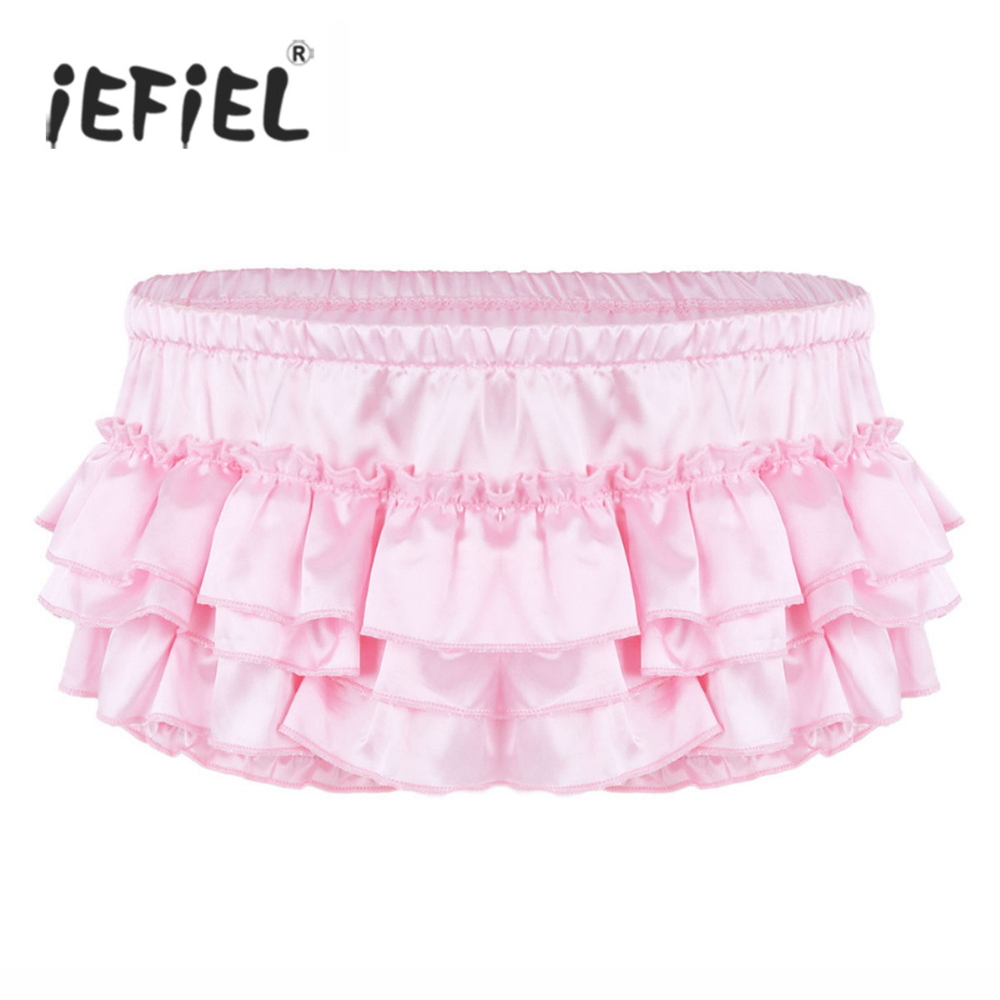 iEFiEL Mens Lingerie Evening Sissy Underwear Shiny Satin Ruffled Bloomer Tiered Skirted Gay Pouch Sexy Panties Briefs Underwear