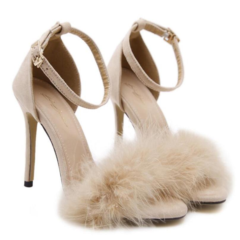 BAYUXSHUO Celebrity Brand Desiger Women Sandals Stiletto Feather Hairy  Buckle Strap High Heels Bridesmaid Bridal Wedding Pumps-in High Heels from  Shoes on ... 7f84a9d7b6eb