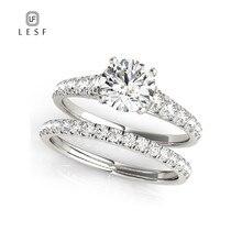 LESF 1,0 карат круглой огранки Sona родиевое покрытие обручальное кольцо набор обручальное кольцо модные украшения для женщин индивидуальный заказ