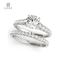 LESF 1.0 Carats Round Cut Sona Rhodium Plated Wedding Ring Set Engagement Band Fashion Jewelry For Women Private Custom