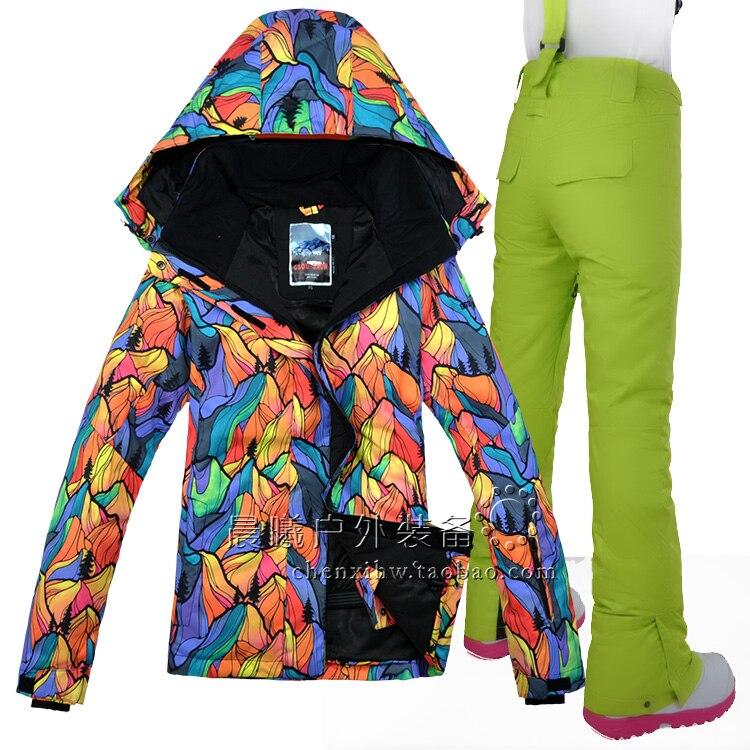 GSOU neige femmes Ski costume Snowboard costume imperméable coupe-vent Sport porter veste pantalon femme thermique vêtements pantalon hiver costume