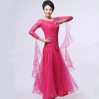 ballroom dance dress lady red/rose/black lulu/jazz/tango/waltz dance dress competition/performance marine costumes for women