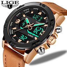LIGE New Brand Casual Watch Men Style Waterproof Sport Military Watches LED Luxury Analog Digital Quartz Relogio Masculino