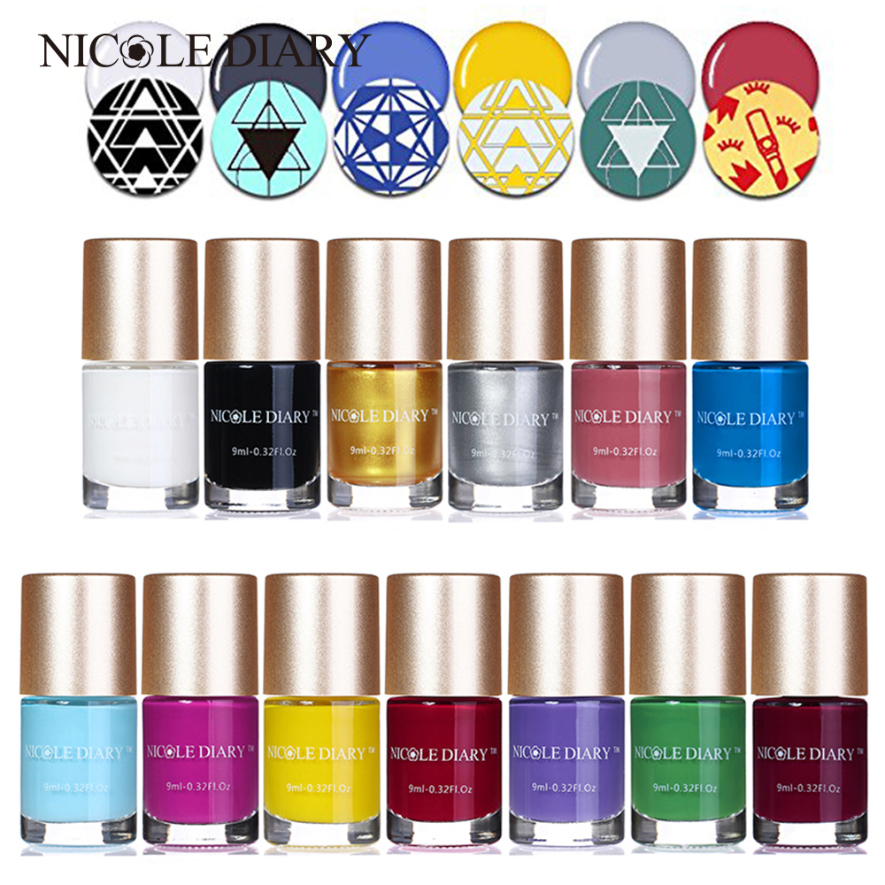 9ml NICOLE DIARY Sweet Color Nail Art Stamping Polish Gold White Lacquer Varnish Polish 13 Colors Optional