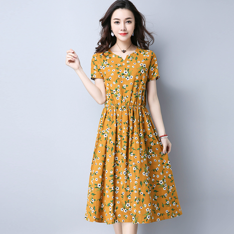 2017 Mori Girl Retro Midi Dress Women Summer New Fashion Linen Plus Size Flower Long Dresses