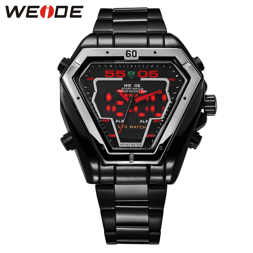 Hot Selling WEIDE Brand Special Dial Watches For Men Outdoor Sport Watch 30m Waterproof Dual LED Display Stainless Steel Strap weide brand irregular man sport watches water resistance quartz analog digital display stainless steel running watches for men