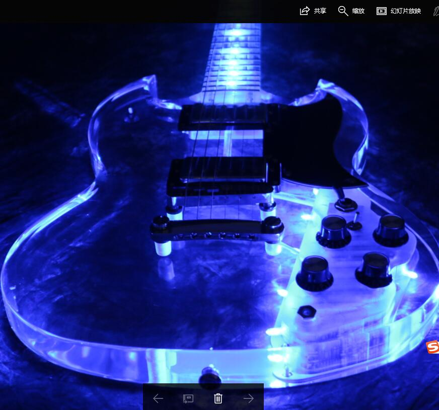 top quality full acrylic sg 400 electric guitar blue led light crystal high quality guitar. Black Bedroom Furniture Sets. Home Design Ideas