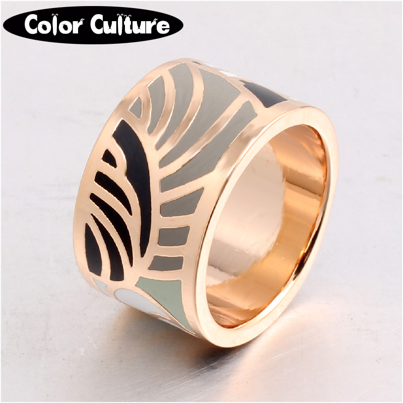 Brand Exclusive Elegant Classic Design Feather Color Vintage Enamel Ring 1.3cm Width Gilded Stainless Steel Rings for Women