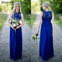 Sexy Long Royal Blue Beach Country Style Bridesmaid Dresses Sheer Lace Sexy Open Back Bridesmaids Dress Maid of the Honor Gowns