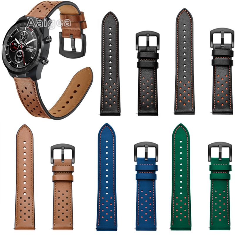 New Fashion Leather Watch Band Strap For Ticwatch Pro S2 E2 Replacement Accessories Wrist Band Strap 22mm Leather Bracelet Belt