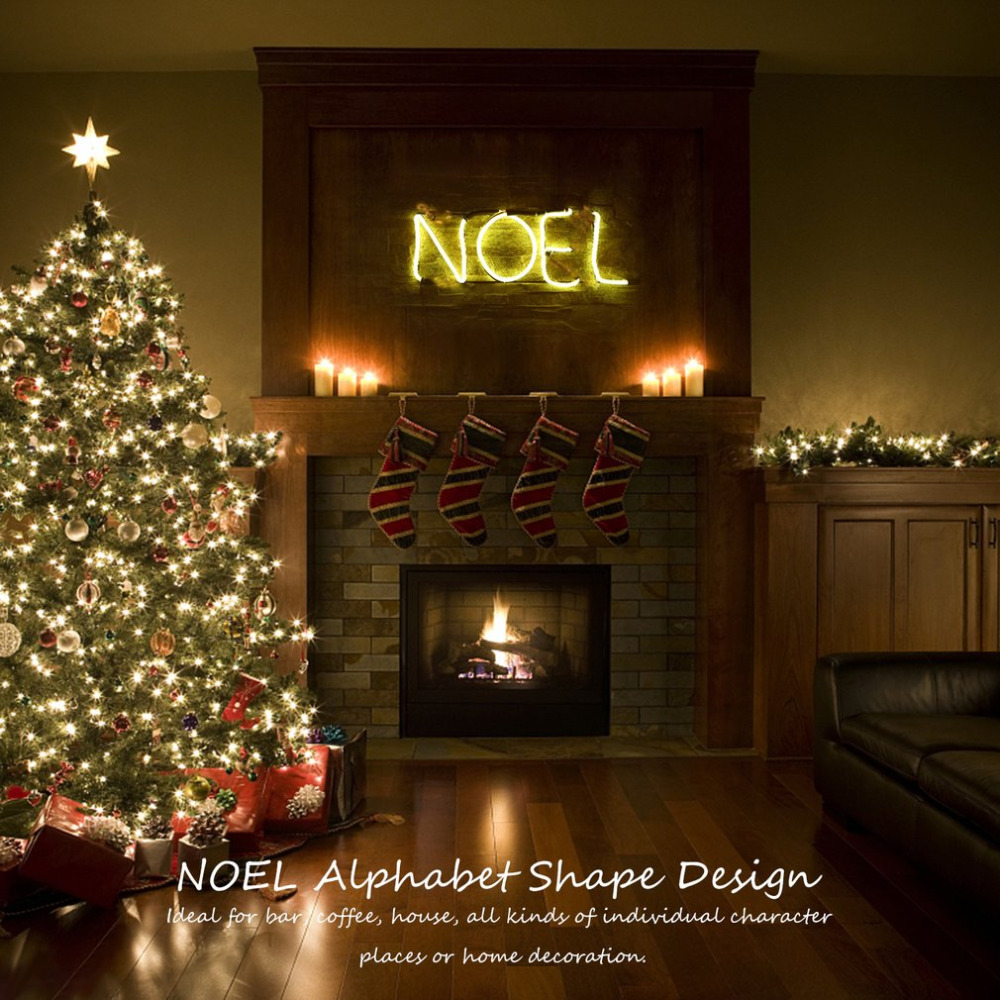 ICOCO Neon Sign Light NOEL Alphabet Shape Design Room Wall Decorations Home Love Ornament Coffee Bar Mural Crafts ...