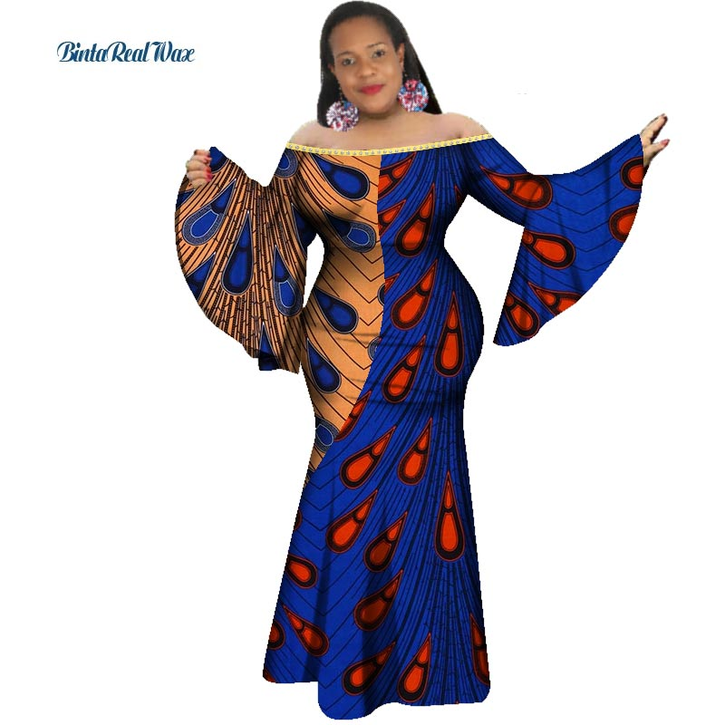 New African Print Dresses for Women Rivet Patchwork Ruffle Sleeve Long Mermaid Dress Party Vestido Bazin African Clothing WY3339