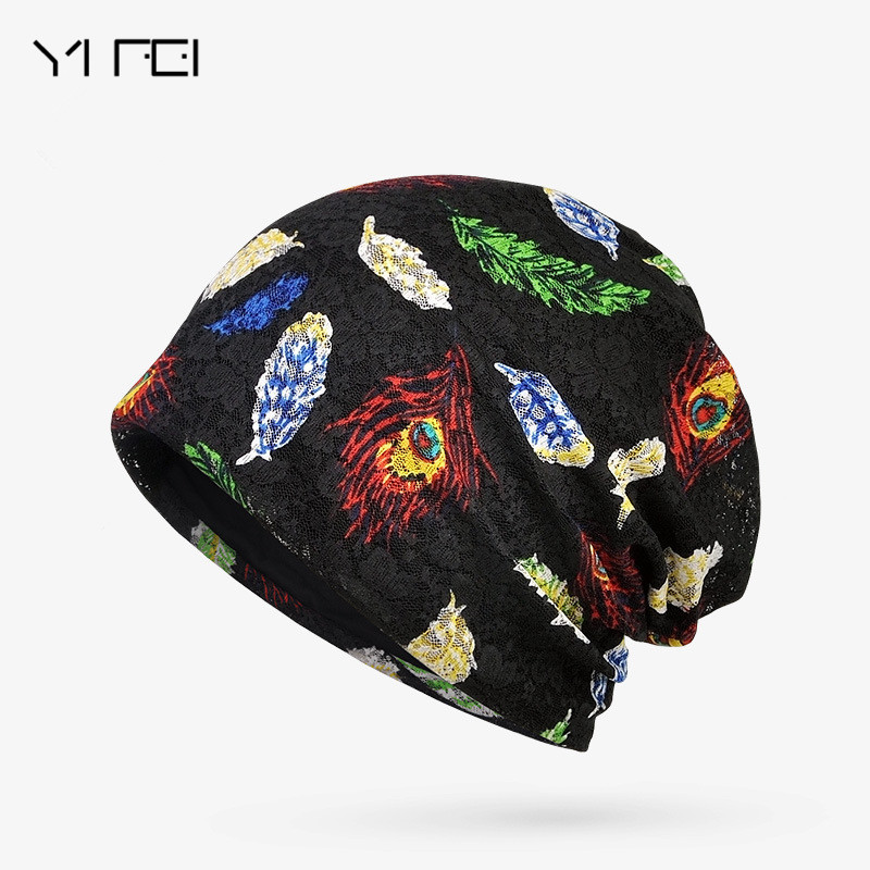 YIFEI Brand Women Lace Skullies Beanie Hat Female Spring Autumn Hat Cap Cotton Casual Flower Bonnet Femme Ladies Butterfly Hat skullies