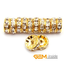 Jewelry Making: 100 PCS To Sale 4mm 6mm 8mm 10mm Crystal Spacer Rondelle Rhinestone Loose Beads For Jewelry Making Wholesale !