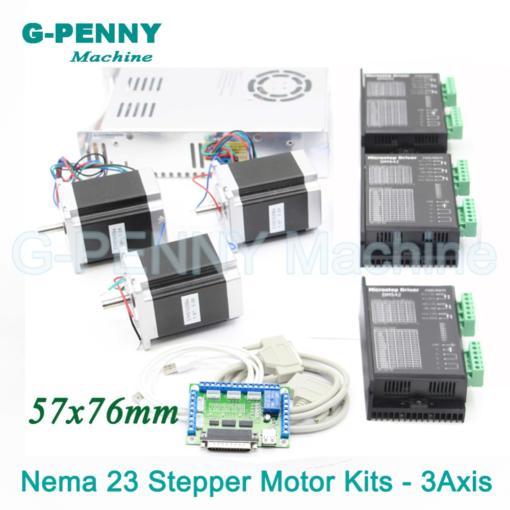 3Axis CNC stepper motor control kits name23 stepping motor + Driver 24-50VDC + Power supply switch 400w 36v+5axis breakout board