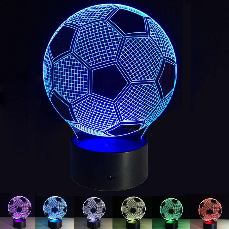 3D USB Football Led Night Light 7 Colors Changing Night lamp acrylic ball shape light Battery/USB Ball Bed lights(No Battery) elephant shape night light 3d stereo vision lamp 7 colors changing acrylic usb bedroom bedside night light creative desk lamp