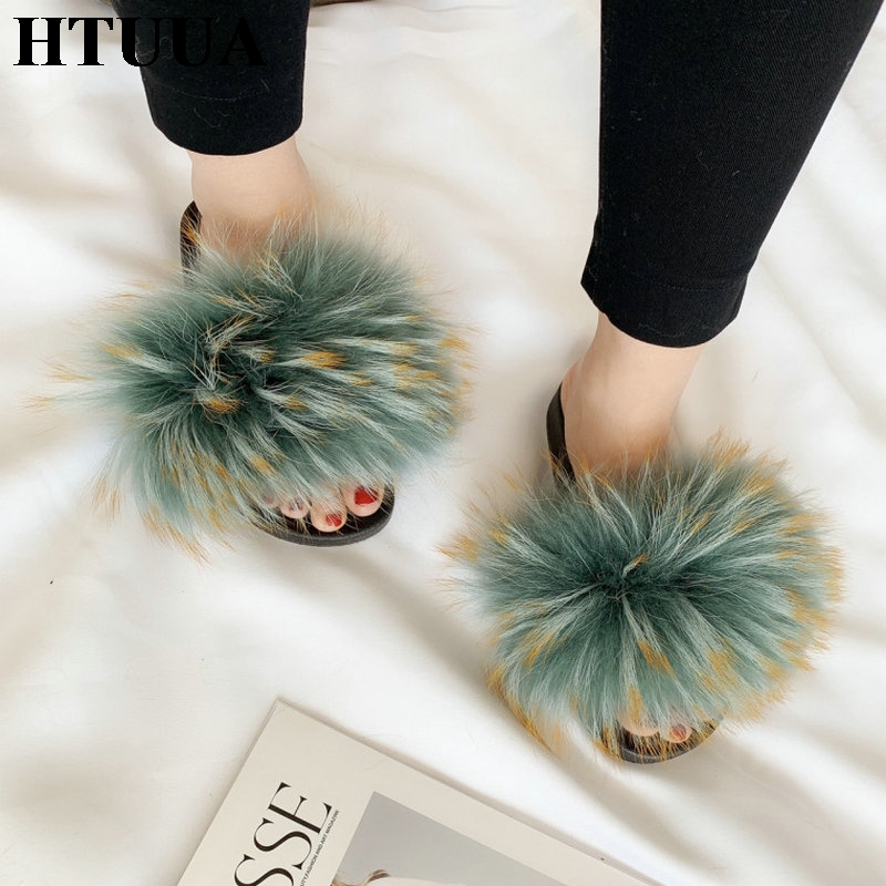 HTUUA Slippers Women Slides Flat-Shoes Plush Furry Fluffy Colorful Winter Summer Indoor