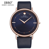 IBSO 2016 Mens Watches Top Brand Luxury 7 5MM Ultra Thin Dial Genuine Leather Strap Quartz