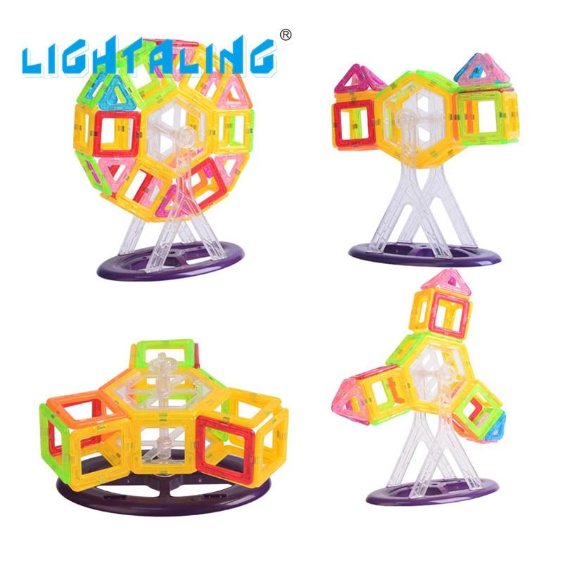Lightaling Toy Bricks 60pcs Mini Magnetic Block MAGNETIC 3D BUILDING TOY Building DIY Educational Toy for Children Kids lightaling magnetic 90pcs big size building block kit toy enlighten diy toys for children kid gift designer bricks