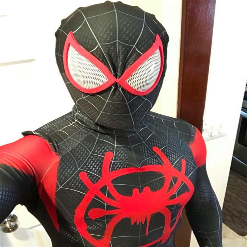 Miles Morales Into Spider verse cosplay Super hero Spiderman Costumes Fullbody Zentai Suit man Jumpsuit Long Sleeve Rompers