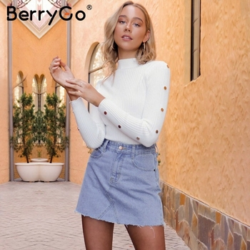 BerryGo Stand collar knitting women sweater winter Long sleeve rivet button knitted sweaters Female casual pullover white jumper knitting
