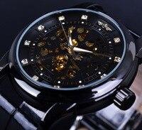 Winner Diamond Skeleton Design Black Golden Skeleton Watch Men Automatic Watch Horloge Erkek Saat Male Clock