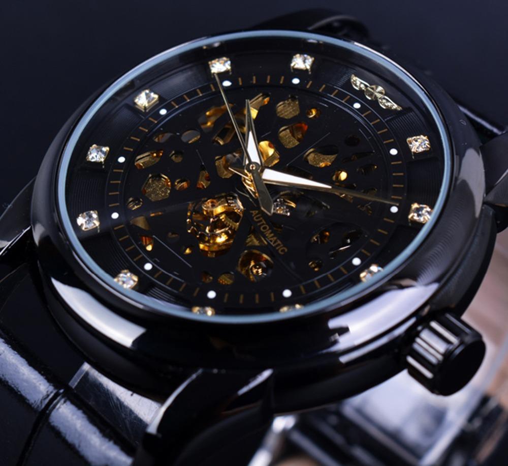 Prix pour Gagnant Diamant Squelette Conception Noir Squelettique D'or Montre Hommes Montre Automatique Horloge Erkek Saat Mâle Horloge Hommes Orologio Uomo