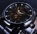 Ganador Esqueleto Diamante Diseño Negro Esquelético de Oro Reloj Automático de Los Hombres Reloj Horloge Erkek Saat Orologio Uomo Masculinos Reloj de Los Hombres