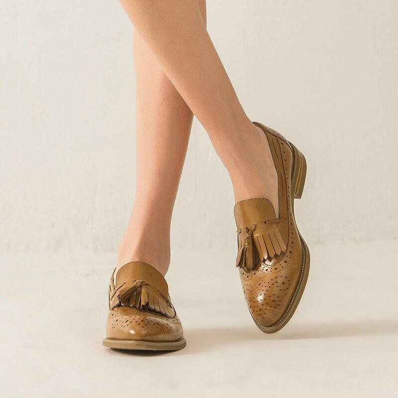 Ayakk.'ten Kadın Topuksuz Ayakkabı'de BeauToday Dana Derisi Loafer'lar Kadın Brogue Saçaklar Sivri Burun Kayma Hakiki Deri Bayanlar Düz Topuk Ayakkabı El Yapımı 27115'da  Grup 2