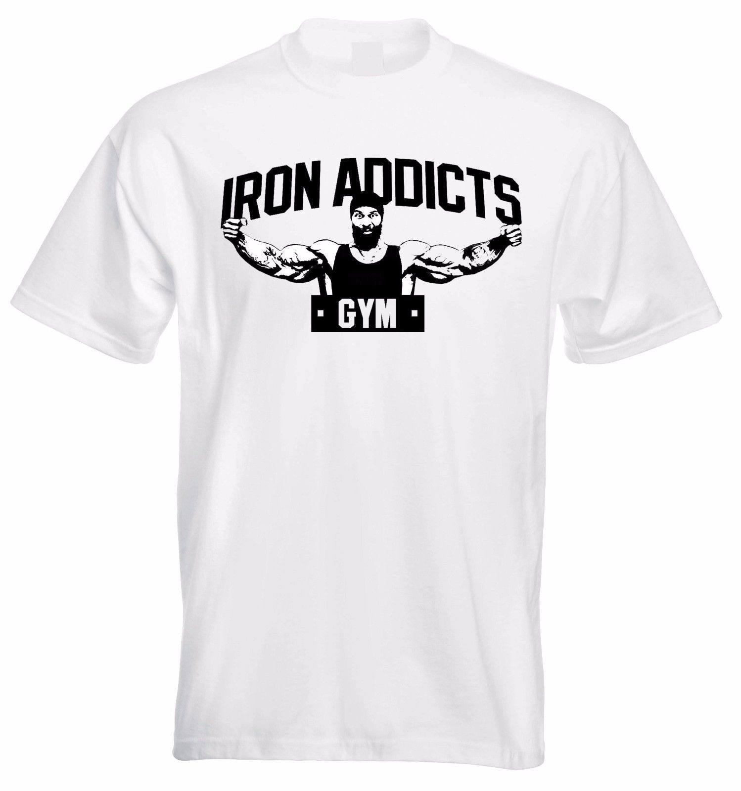 IRON ADDICTS GYMER T SHIRT CT FLETCHER MIKE RASHID - WHITE Summer Short Sleeves New Fashion T-Shirt Casual Printed Tee